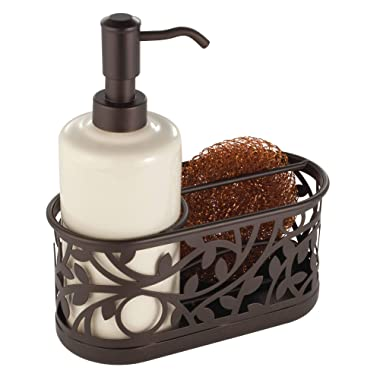 InterDesign Vine Ceramic Soap Pump with Caddy, Dispenser with Storage Compartment for Scrubbers, Sponges, Brushes, for Bathroom, Kitchen Countertops, Sinks, 7.25  x 3.25  x 8.25 , Bronze