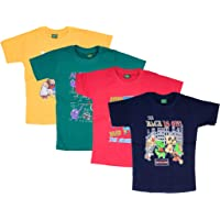Devil Boys Girls Cotton Half Sleeve Round Neck Tshirts for Kids (Pack of 4)-B07G9SZNMB