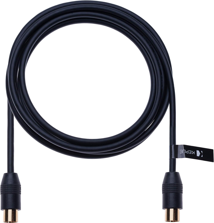 Cable Coaxial RF Cable Aéreo de TV 0.5m Coaxial Coax Enchufe Masculino a Femenino Toma de Antena Extensión Compatible con ONO Euskaltel R Telecable, DVD, VCR | Conector M-F Dorado | Negro: