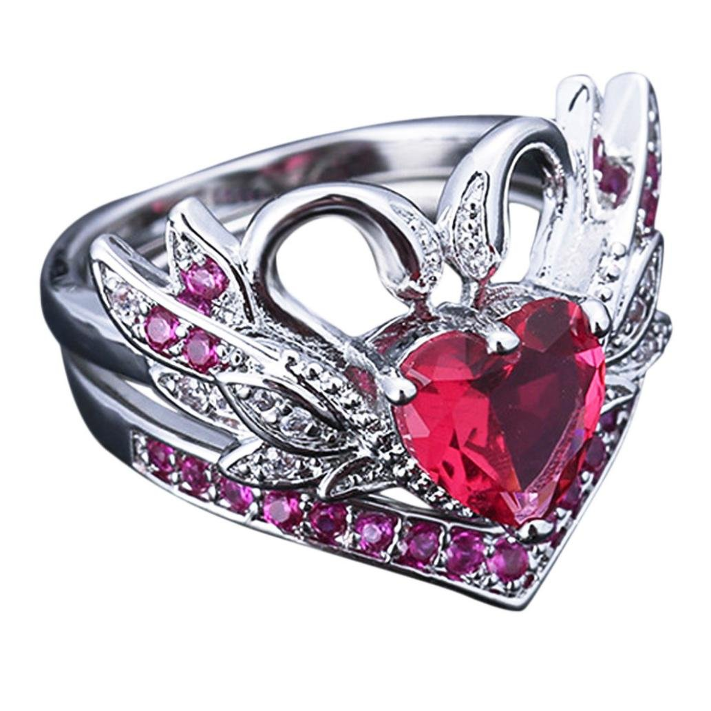 Sinwo Women Crown Shape White Swan Black Swan Engagement Wedding Ring Ruby Lady Ring Gift