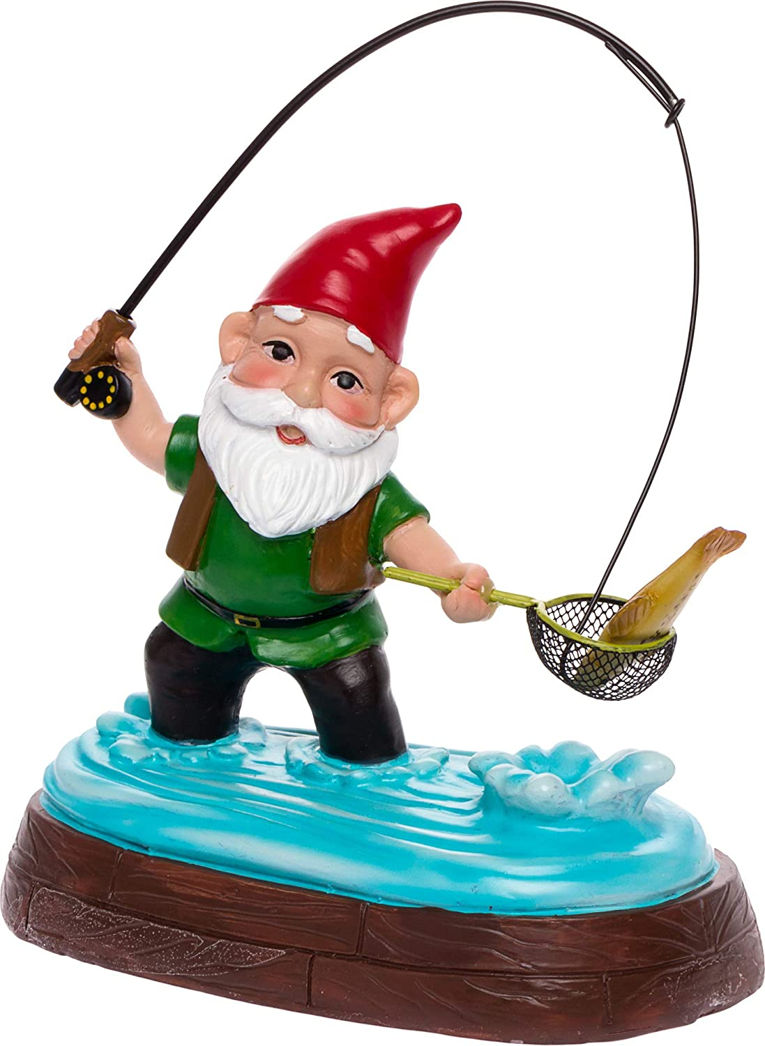 GreenLighting Fisherman Garden Gnome Outdoor Figurine - Hand Painted Funny Novelty Lawn Statue Decoration for Front Yards, Flowerbeds and Offices