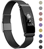 Intoval Bands Compatible with Fitbit Inspire HR Bands/Fitbit Inspire Bands, Stainless Steel Replacement Bands for Men Women (Small, Black)