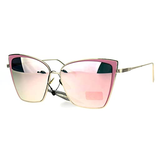 dbb60522508 Womens Squared Futurism Cat Eye Oversize Retro Sunglasses All Pink