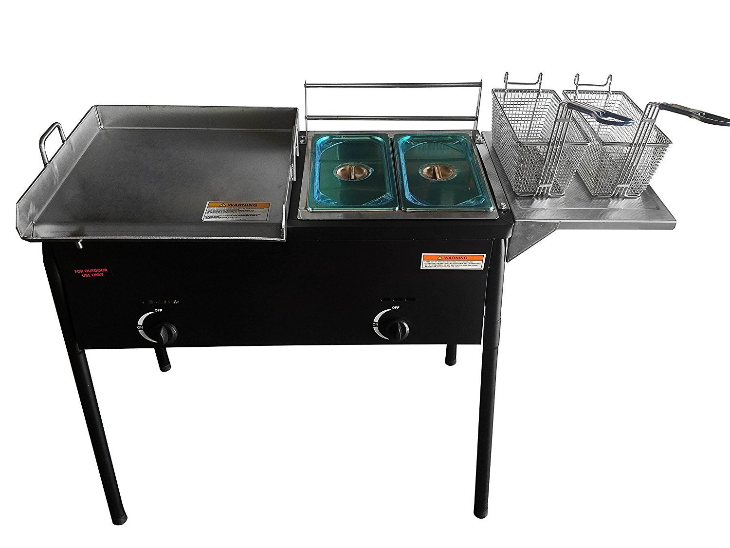 """Bioexcel Taco Cart with 18"""" X 16""""Stainless Steel Griddle - Portable Outdoor Heavy Duty Two Tank Double Deep Fryer, Propane Gas Dual Burner with 2 Deep Trays &Stove - All 3 in 1"""