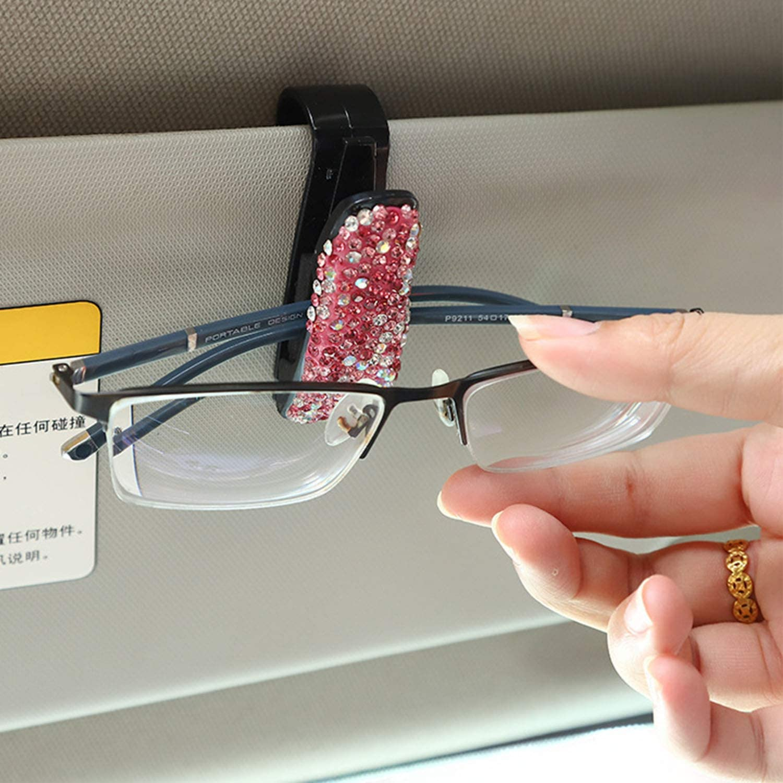 3 Pack Bling Crystal Rhinestones Fashion Car Eyeglasses Sunglasses Hanger Mount with Ticket Card Clip for Women Girls CHIMUYU Glasses Holders for Car Sun Visor