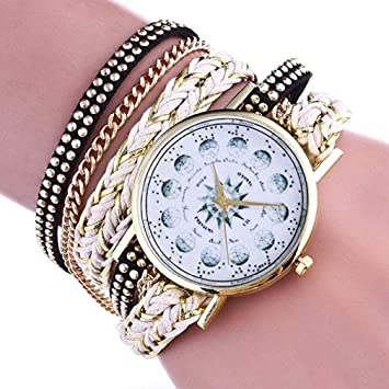 Windoson Rhinestone Bracelet Watch Women Analog Leather Lady Watches Female Watches (White)