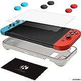 CAMKIX Kit Protezione Compatibile con Nintendo Switch: Cover Sleeve TPU in Silicone (Nero), Proteggi Schermo AntiGraffio e 6X Cappucci Thumb Grip/Copri Pulsante Joystick (2X Rosso, 2X Blu e 2X Nero)