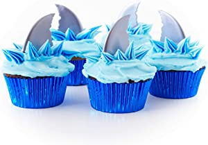 Cakegirls (24 Great White Shark Cupcake Topper Kit - Shark Fin Picks, Blue Foil Baking Cups, Blue Food Color Gel
