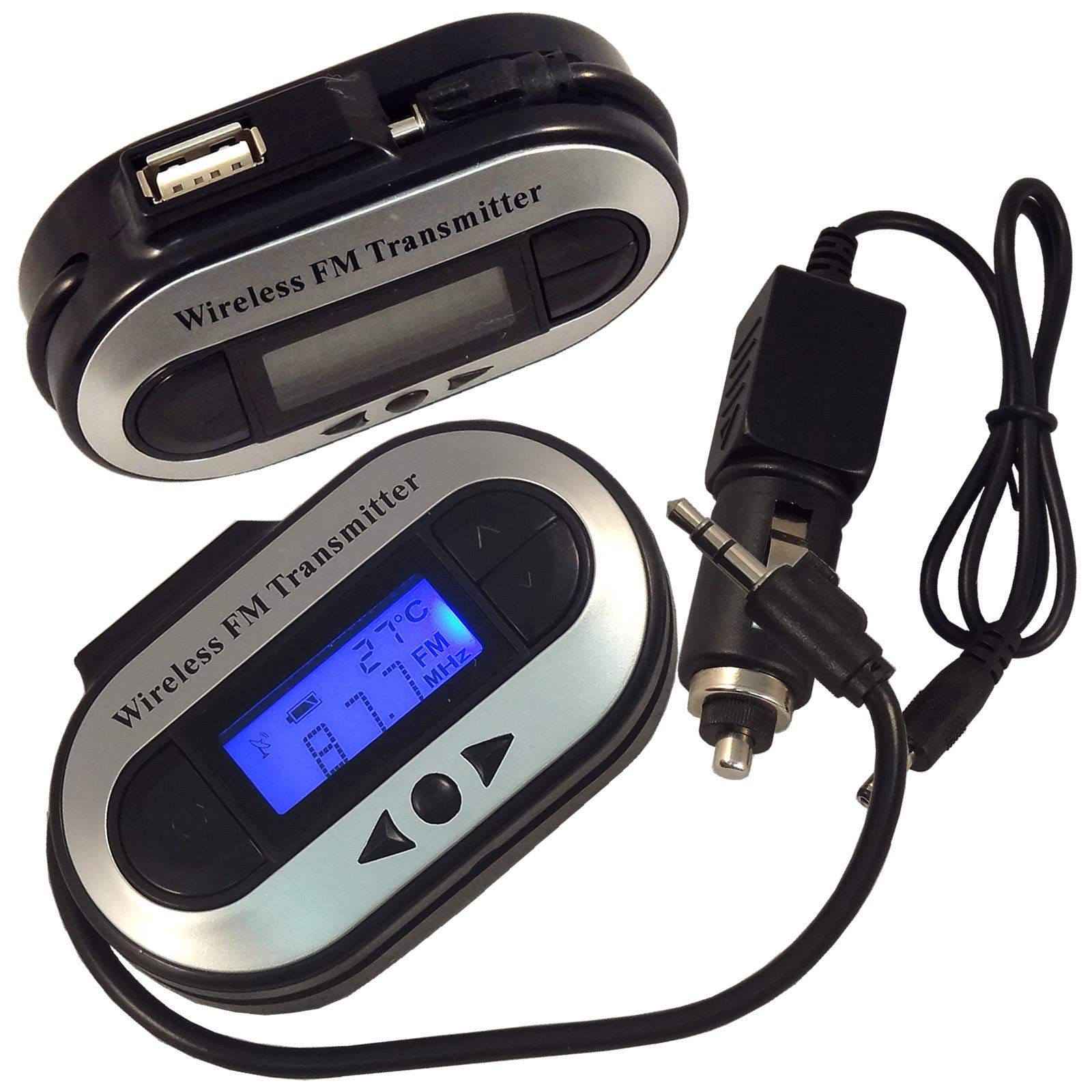 Energi8_blu Kit Car MP3 Player Wireless FM Transmitter 3.5mm Modulator LCD Charger for Phone