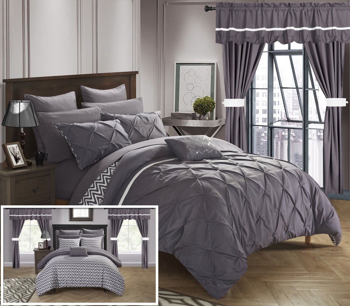 Perfect Home 20 Piece Nashville Complete Bed room in abag Comforter Set,Sheets Set,window treatments include King Plum