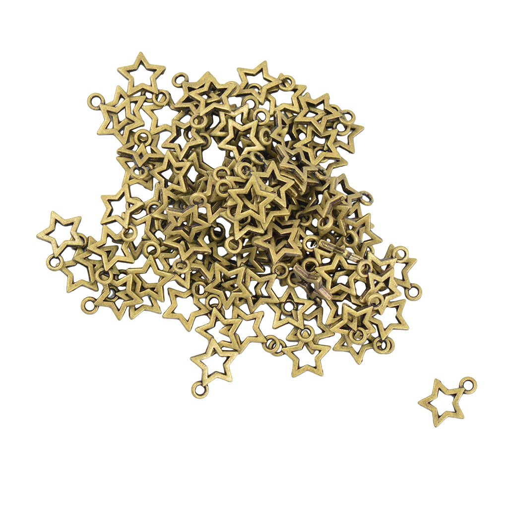 Baosity 100pcs Alloy Stars Charms Pendant Christmas Jewellery Making Crafts Supplies