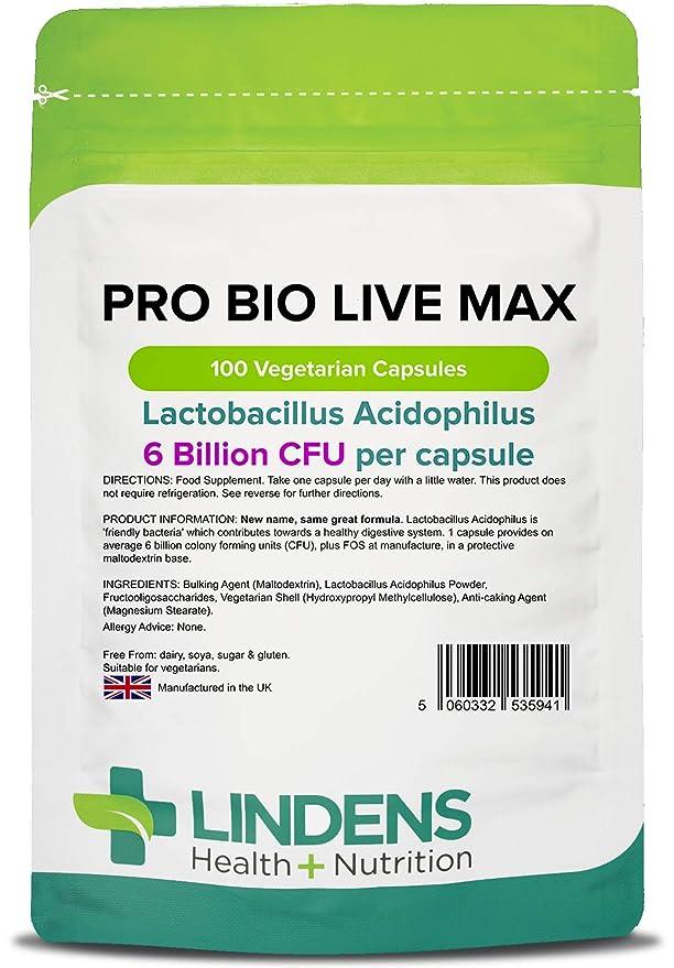 Lindens Probiotic Max 6 Billion CFU de gran resistencia (+ prebiótico) en cápsulas | 100 Paquete | Lactobacilo acidófilo de gran potencia para ayudar ...