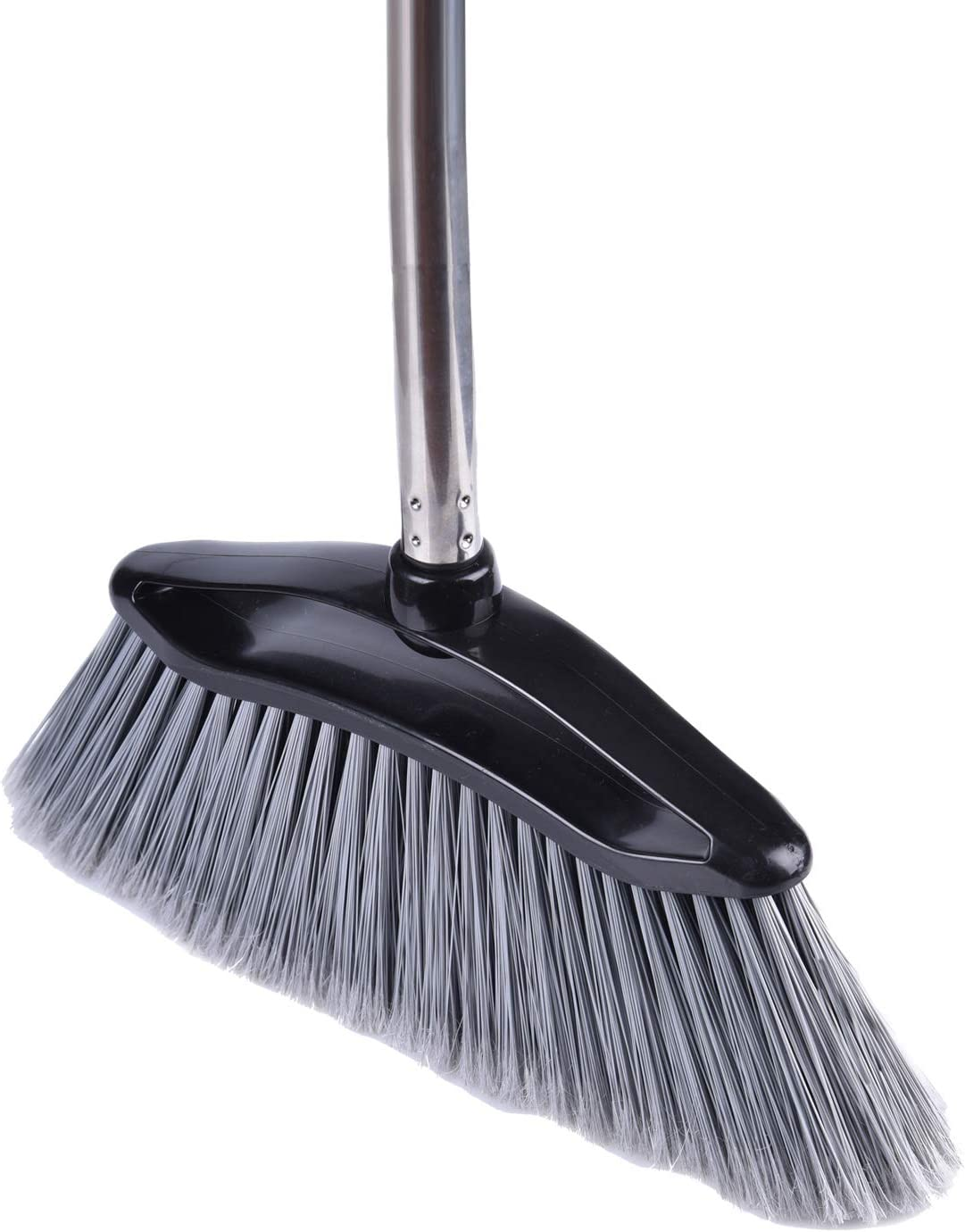 Angle Broom with Adjustable Stainless Steel Handle, PET Fine Long Broom Bristles, Heavy Duty Floor Sweeper, Great Use for Home Kitchen Room Office, 1 Pack