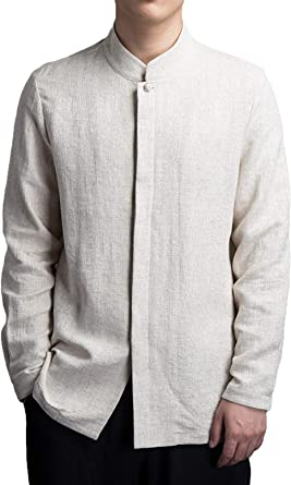 SELX Men Basic Mandarin Collar Linen Cotton Frog Button Down Shirt