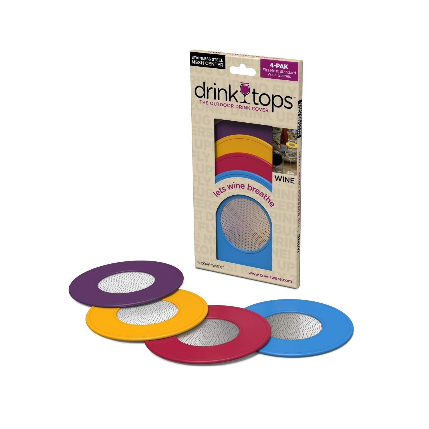 Drink Tops Outdoor Ventilated Wine Glass/Drink Covers, 4pk- Vintage Pinot, Perfect Way to Keep Bugs Out, Aromas In, and Reduce Splashing