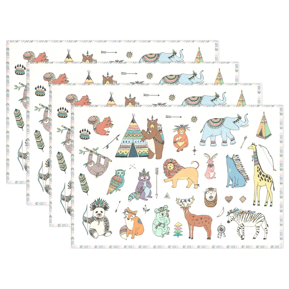 Top Carpenter Funny Tribal Animals Doodle Place Mats Washable Heat Resistant Polyester Table Mats 12'' x 18'', Set of 6