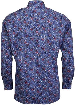OLYMP Luxor - Camisa de Manga Larga con Estampado Floral, Color Azul: Amazon.es: Ropa y accesorios