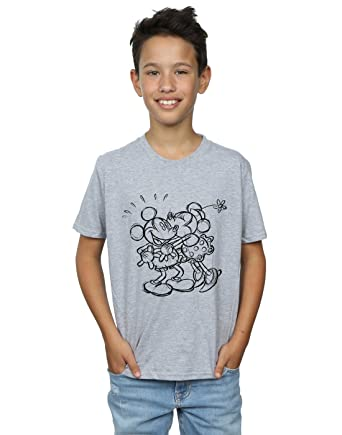 4eacaf739043 Disney Jungen Mickey and Minnie Mouse Kiss Sketch T-Shirt 5-6 Years Sport