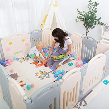 Uanlauo Foldable Baby Playpen Safety Play Yard for Toddler Kids Activity Centre Indoor or Outdoor 4 Panel Grey