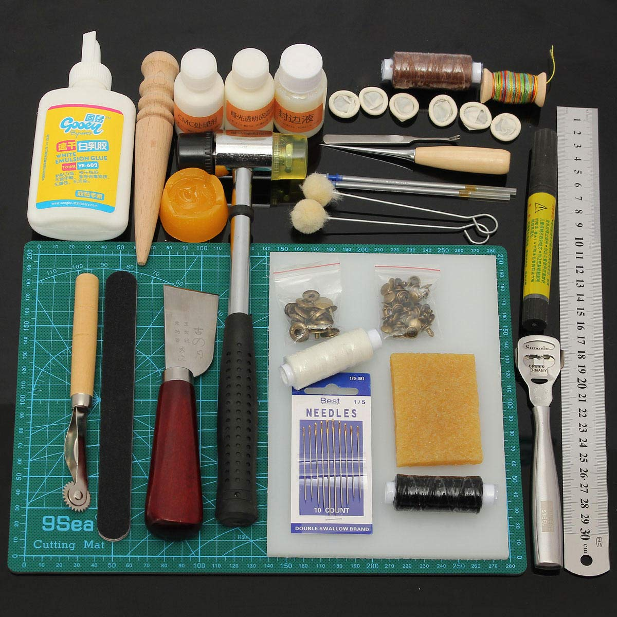 Leather Craft Tool Kit Leather Hand Sewing Tool Punch Cutter DIY Set by Anddoa (Image #2)