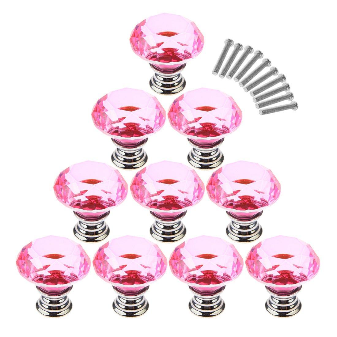 Haoun 10 Pcs Dresser Knobs, Crystal Glass Cabinet Knobs 30mm Diamond Shape Drawer Pulls Handles - Pink