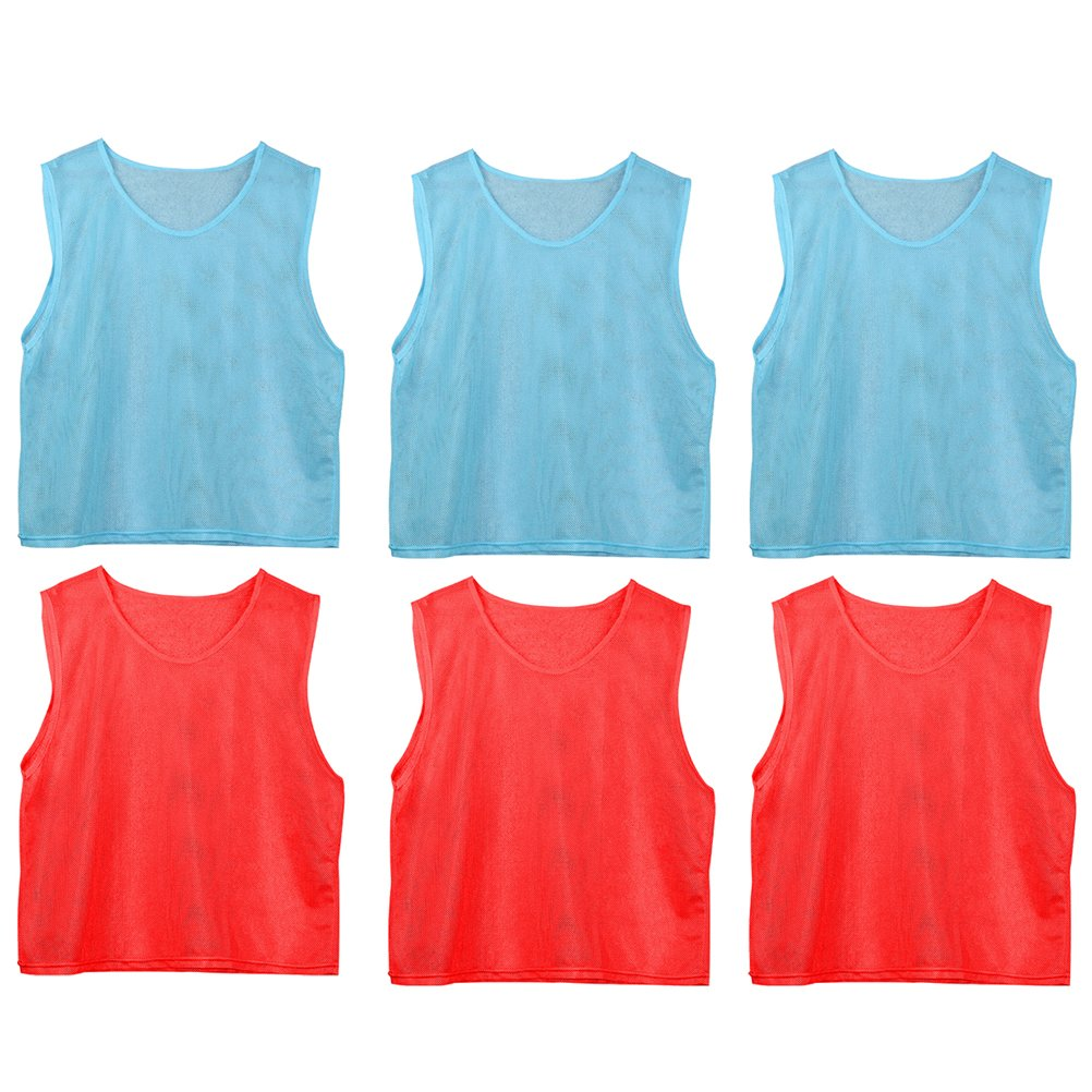 WINOMO 6 Pcs Football Team Scrimmage Practice Vests Mesh Soccer Training Bids for Youth (Red And Light Blue) by WINOMO