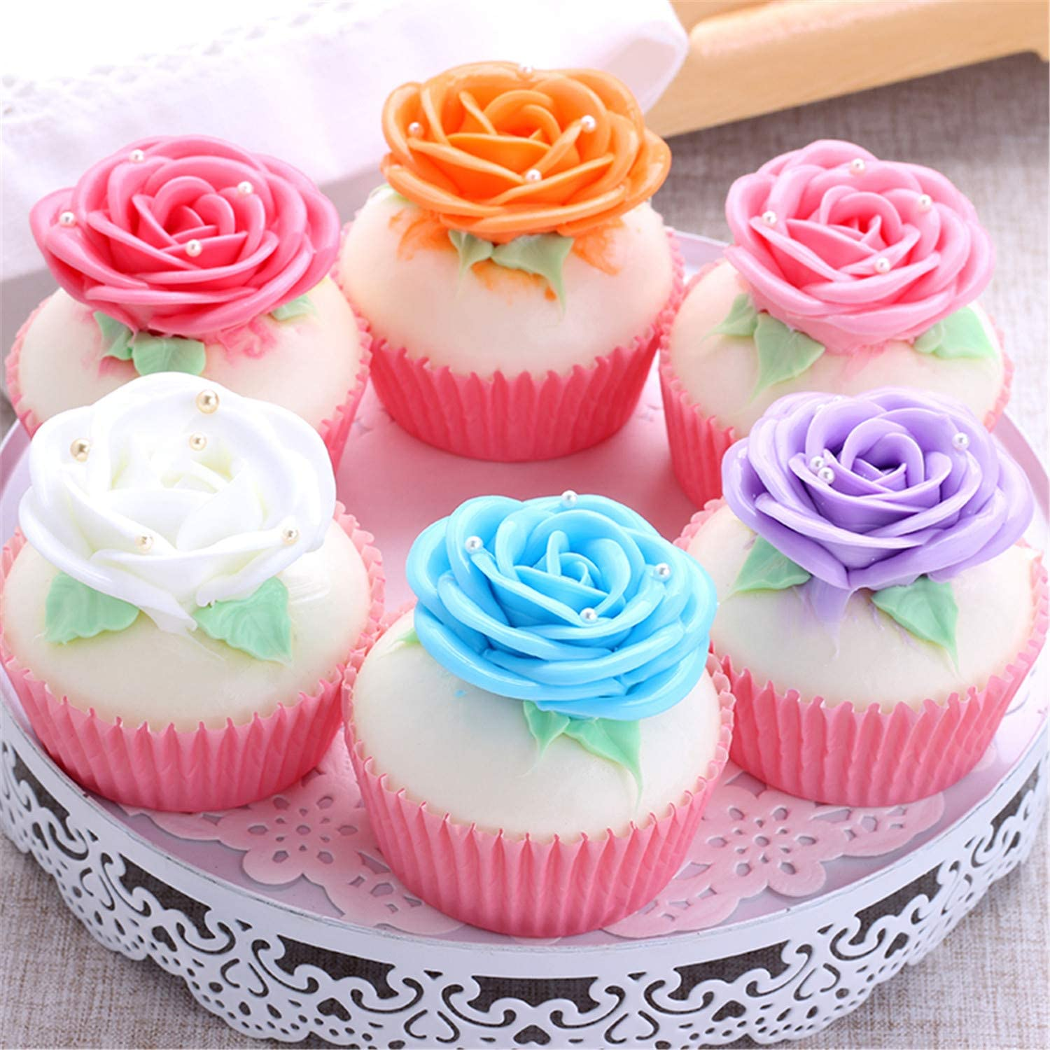 Skyseen 6 PCS Realistic Artificial Rose Cupcake Model Fake Cake Model Photography Props Decoration