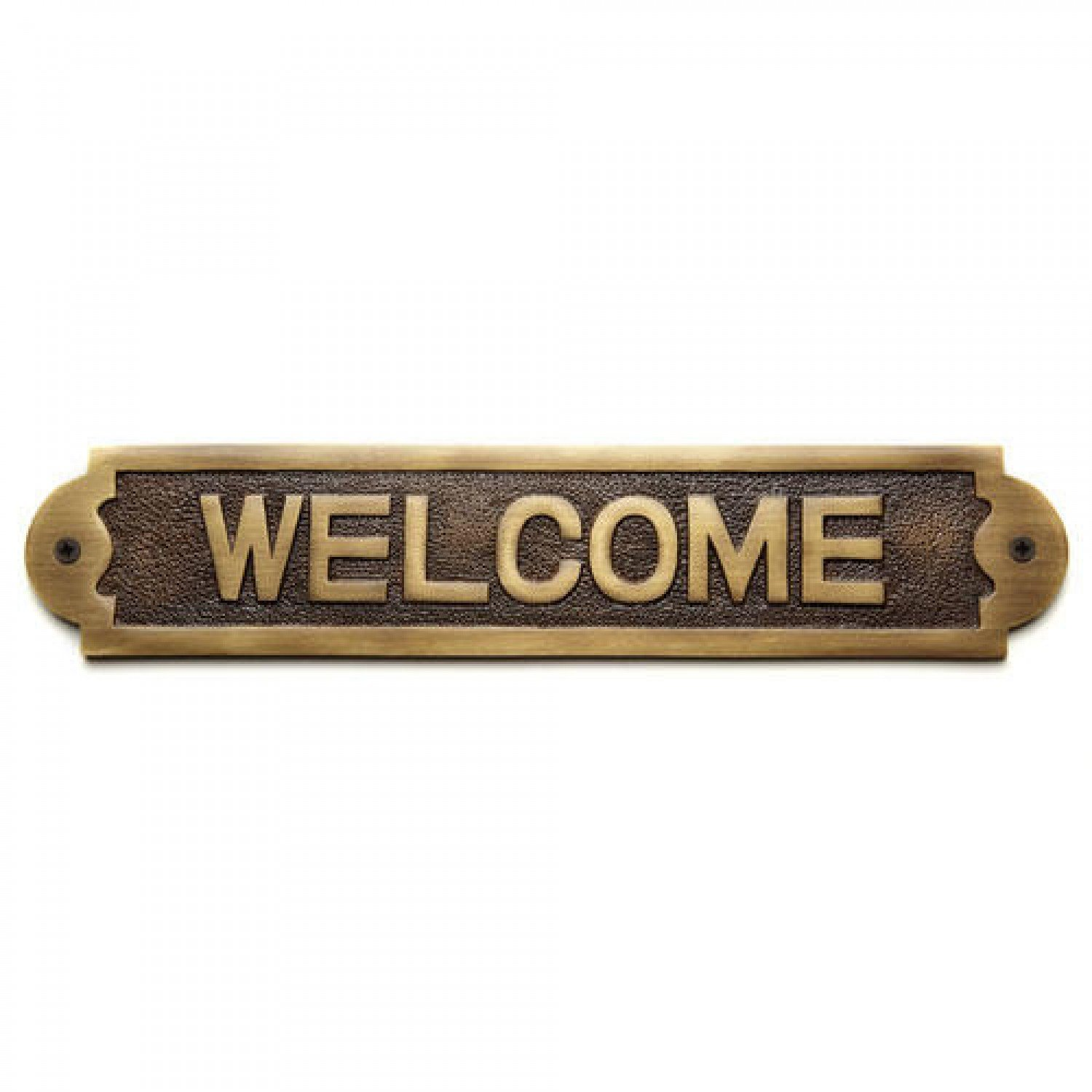 "Naiture Solid Brass ""Welcome"" Sign In Antique Brass Finish"