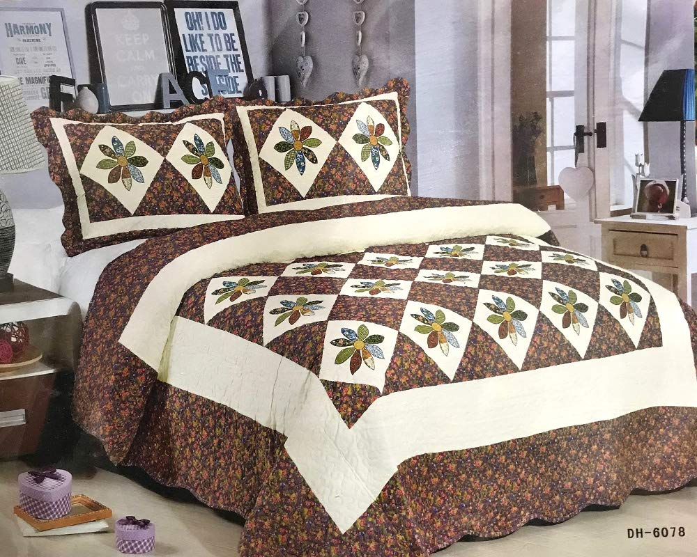 Bluemoon Patchwork 100% Cotton Quilted Bedspread Set With Pillow Cases Bed Throw Fits Double And King Size (YZ9252)