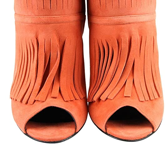 fe5b610efeb Amazon.com  Gucci Women s Orange Suede Ankle Toe Gladiator Fringe Becky  Bootie Boots 347283  Shoes