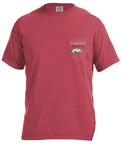 39794528 NCAA Arkansas Razorbacks Adventures Short Sleeve Comfort Color Pocket Tee,  Small, Crimson