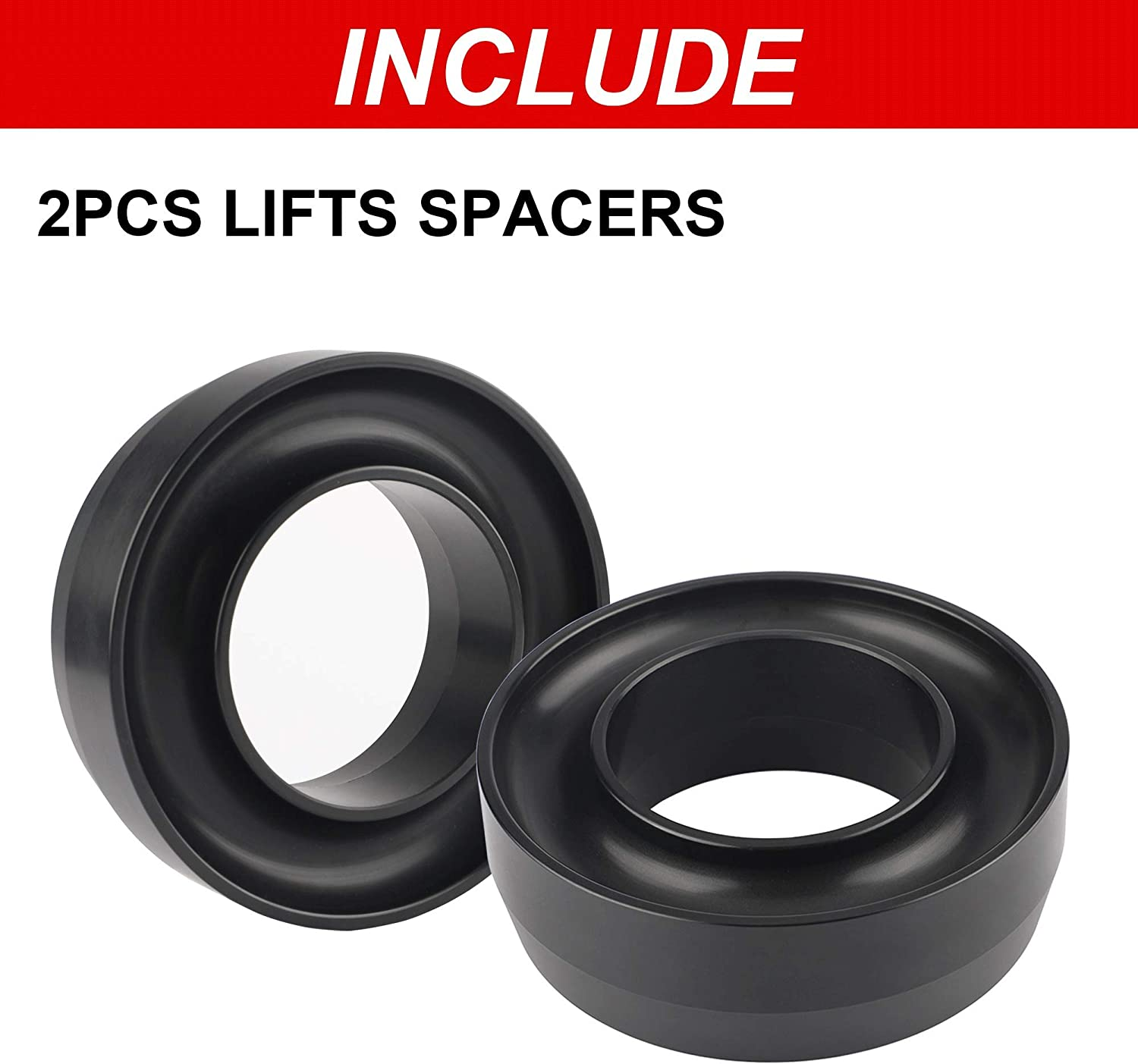 Leveling Lift Kit Compatible with 1994-2018 Ram 1500//2500//3500 2WD Forged Front Strut Spacers Raise the Front of your Car by 3 3 Front Leveling Lift Kit Compatible with Ram 1500 2500 3500 2WD