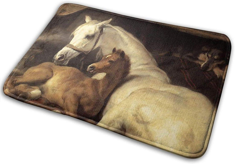Alfombra de baño antideslizante para tienda árabe con caballos y otros animales (15.7 x 23.5 pulgadas)