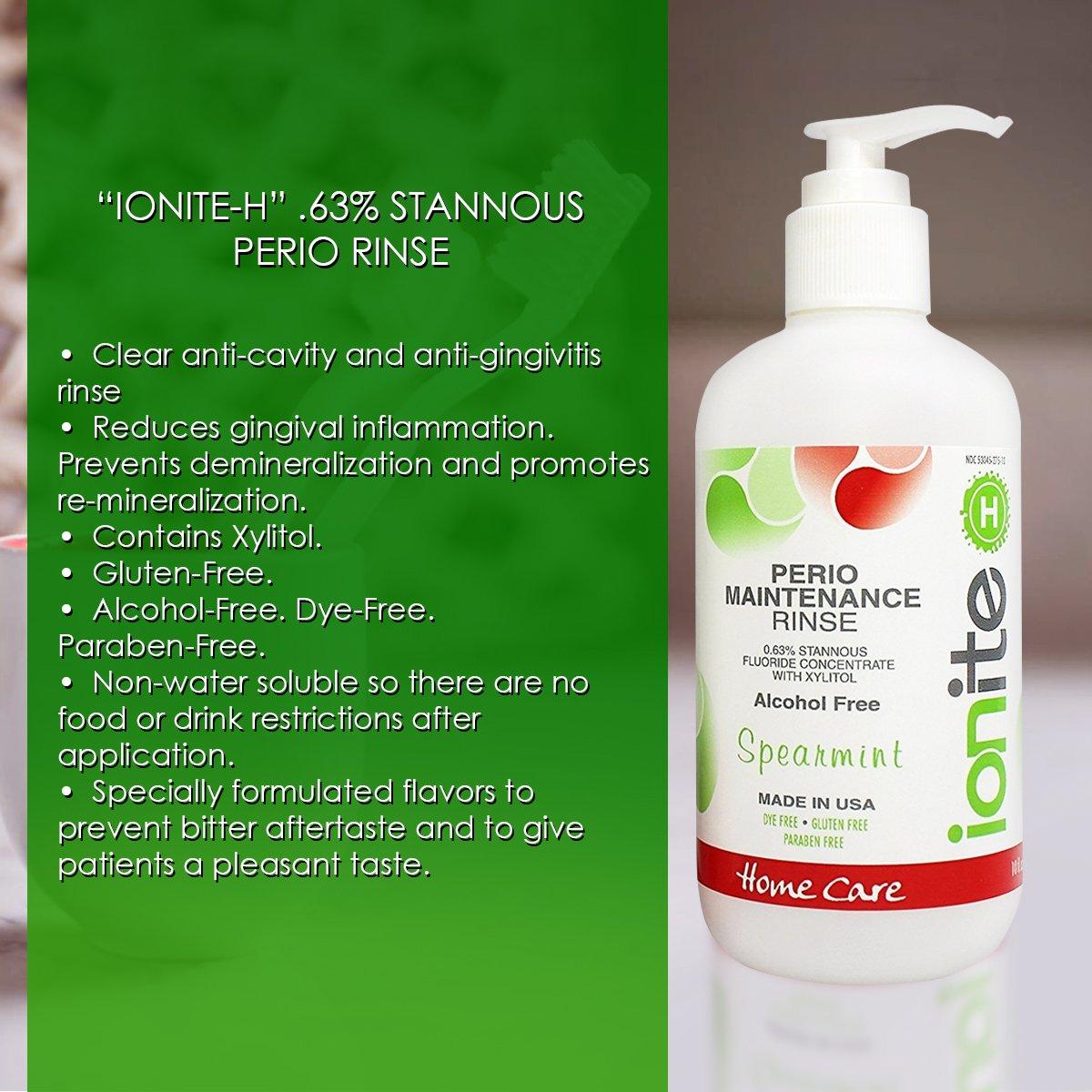 Amazon.com: Ionite 0.63% Stannous Fluoride Antimicrobial Perio Rinse  Mouthwash - Spearmint Flavor 10 Fl. Oz.: Industrial & Scientific