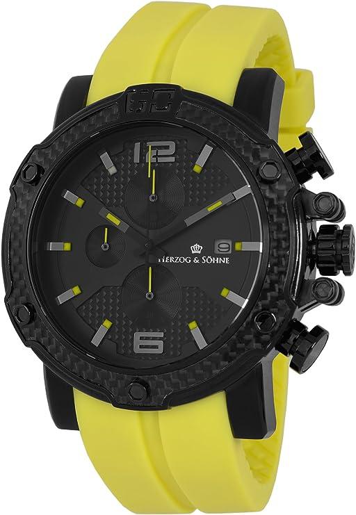 Herzog & Söhne HS201-620 - Reloj analógico de Cuarzo para Hombre, Correa de Silicona Color Amarillo (cronómetro, Agujas luminiscentes, Cifras luminiscentes)