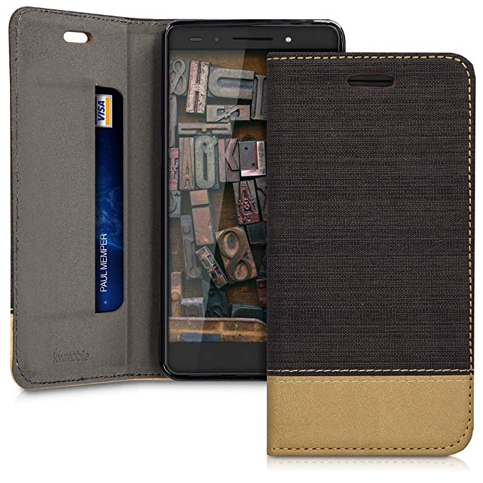kwmobile Huawei Honor 7 / Honor 7 Premium Hülle - Stoff Handy Cover Case mit Ständer - Schutzhülle für Huawei Honor 7 / Honor