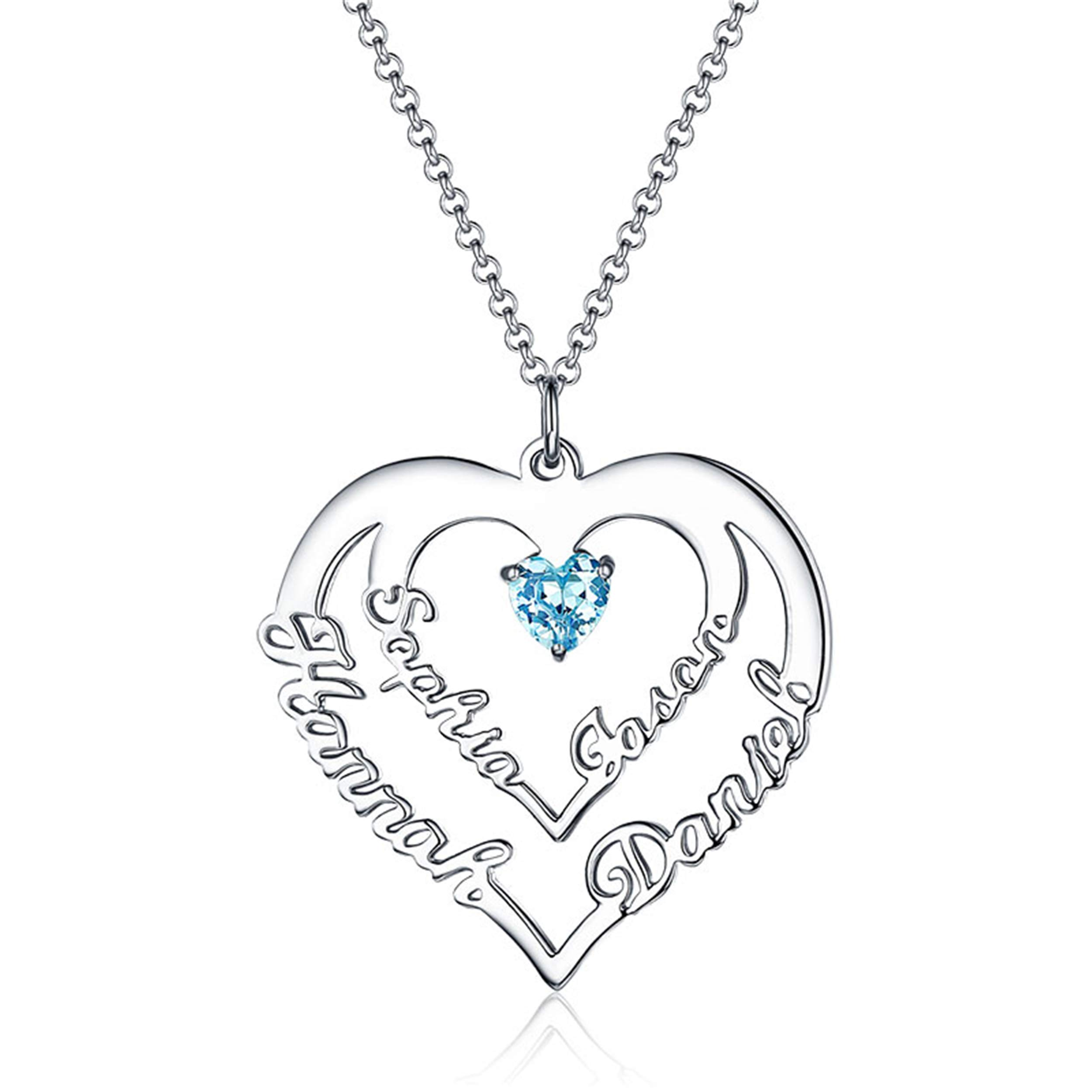Getname Necklace Womens Personalized Sterling Silver Heart Necklace with 4 Names Birthstones Family Necklace for Mom Silver 20