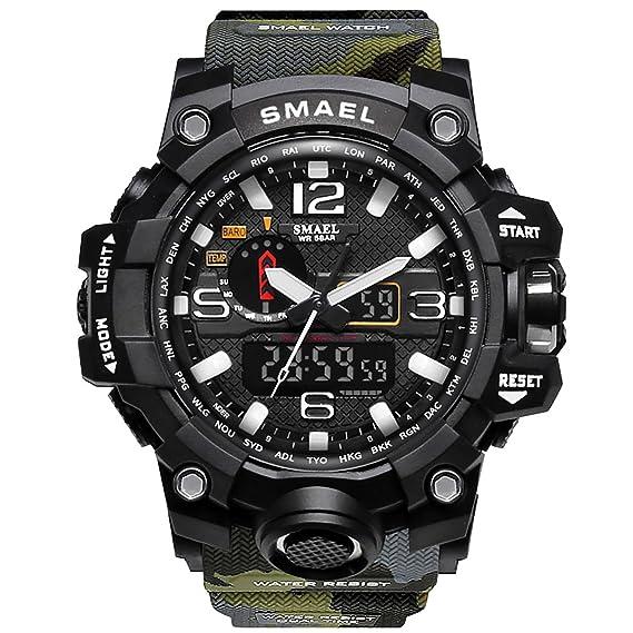 Relojes Hombre Reloj de Pulsera Hombre Reloj Deportivo Militar Reloj Smart Moda Reloj de Pulsera Reloj Pulsera Digital LED-Military Green-WCH1545-MGR: ...