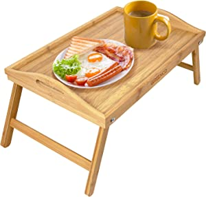 Greenco Bamboo Foldable Breakfast Table, Laptop Desk, Bed Table, Serving Tray