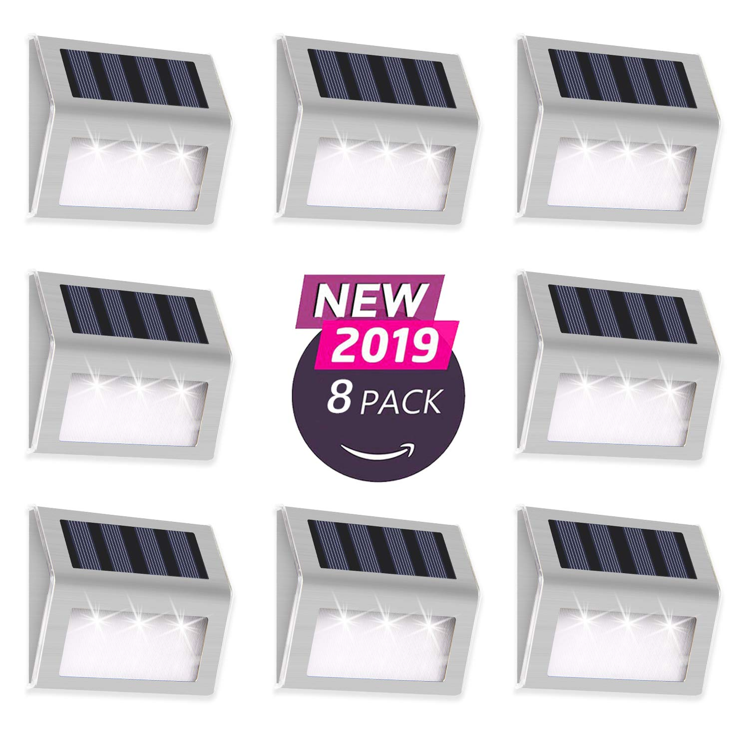 Otdair Solar Deck Lights, 3 LED Solar Step Lights Outdoor Auto On/Off Stainless Steel Solar Stair Lights Waterproof Wireless Solar Powered Lights for Fence Patio Garden Pathway - White Light 8 Pack by Otdair