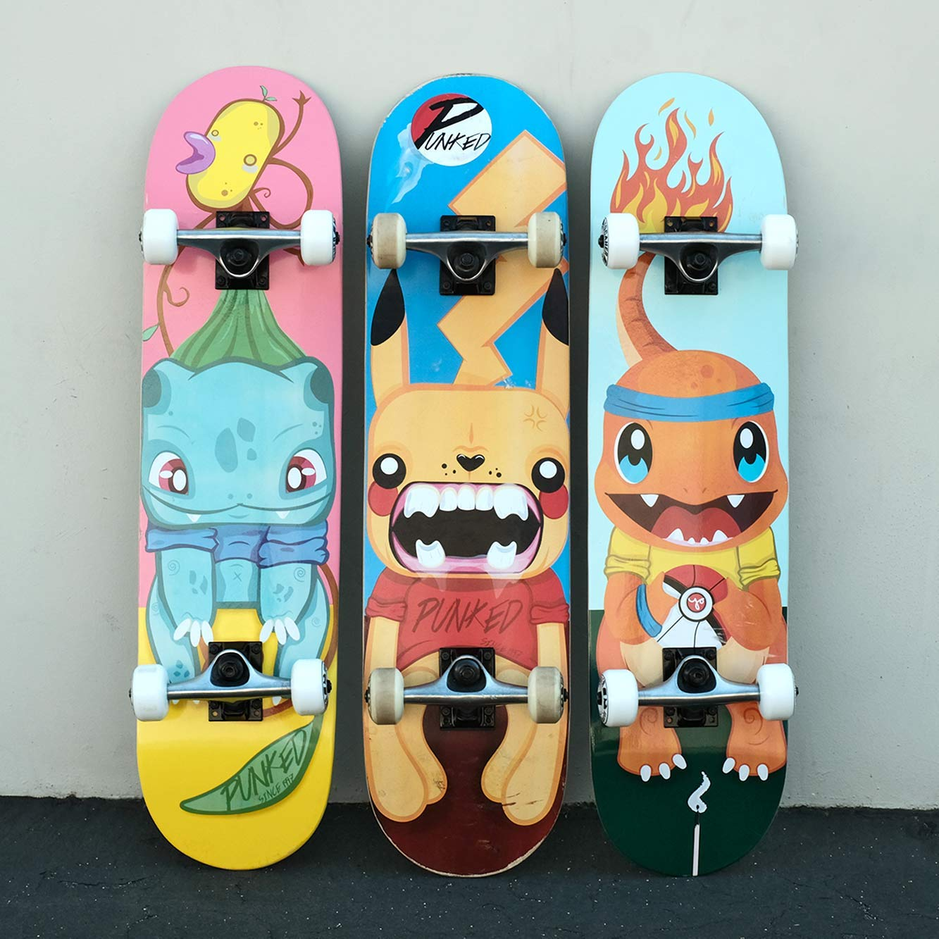 Yocaher Punked Complete Skateboards 7.75'' or Mini Cruiser or Micro Cruiser Shapes - Pika and Chimp Series (Complete -01-7.75'' Pika)
