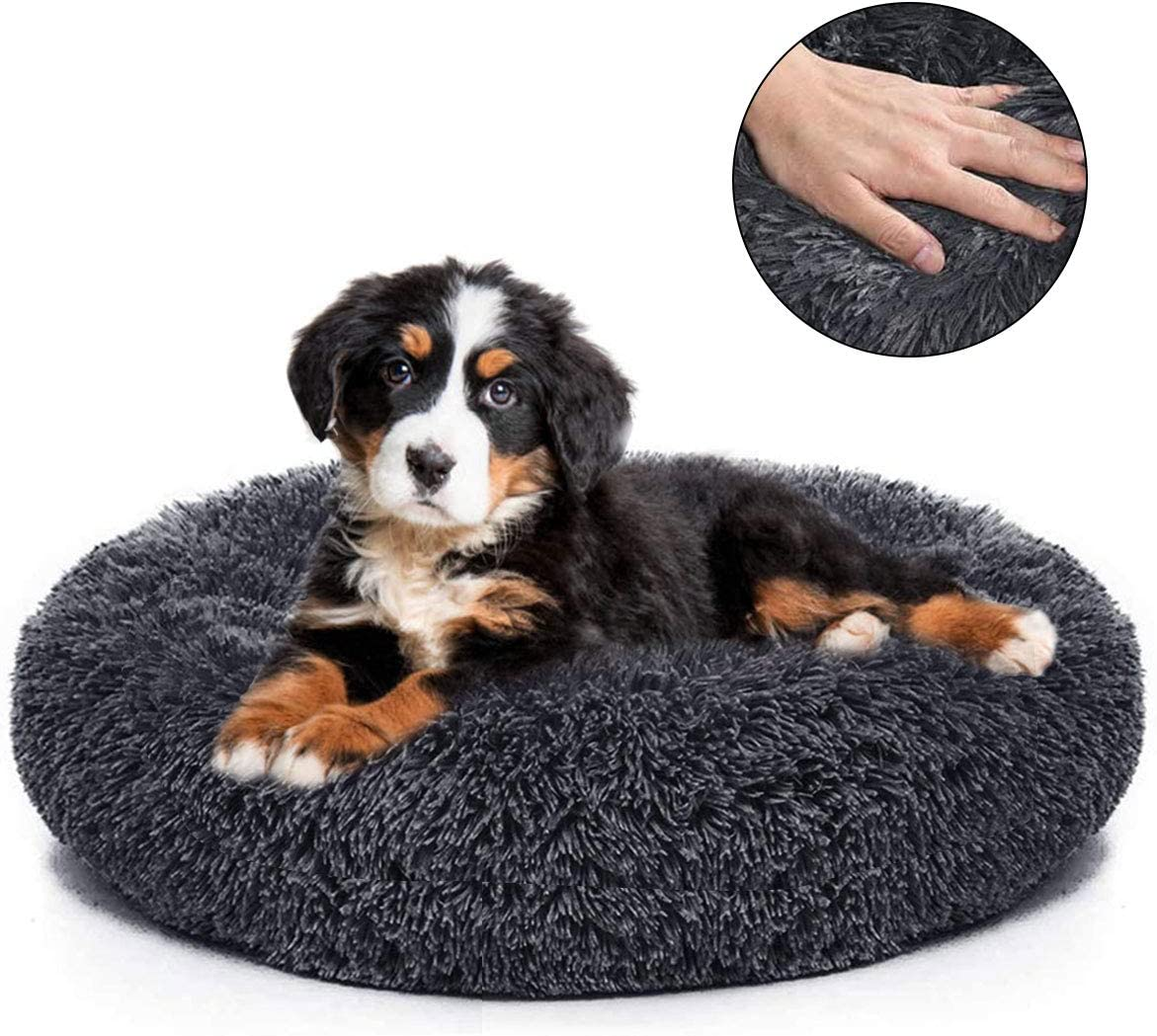 Dog Bed Cat Bed Donut, Comfortable Pet Bed Cuddler Ultra Soft Round Washable Dogs and Cats Cushion Bed with Sponge Non-Slip Bottom for Small Medium Pets 23.6 Self Warming Indoor Snooze Sleeping Bed
