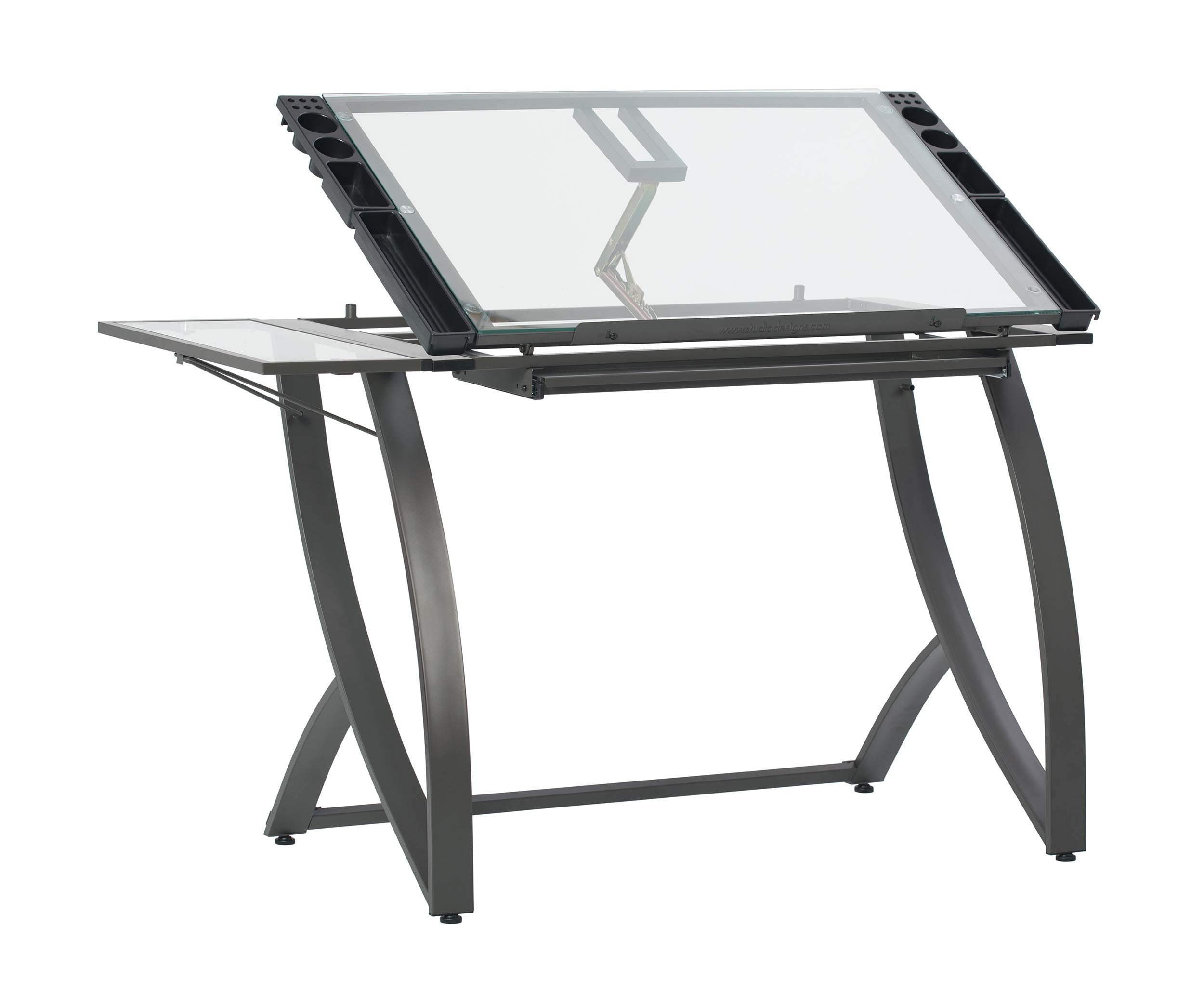 SD STUDIO DESIGNS 10079 Futura Luxe Drawing, Drafting, Craft Table with Drawer, 35'' Wide Angle Adjustable Top and Side Shelf, Pewter Grey/Clear Glass by SD STUDIO DESIGNS