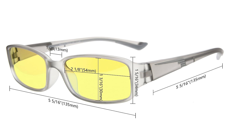 Schwarz//Grau Arm +0.00 Eyekepper 94/% Blau licht blockierende Brille,gelb get/önte Linse Computer Brille