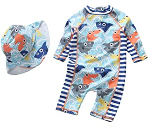 c4e8996af2 Sun Protective Baby Boys Swimsuit Toddlers One Piece Swimwear with Hat  Shark Rash Guard UPF 50
