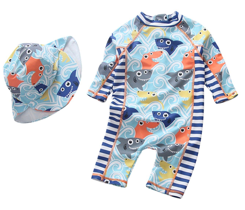 TAIYCYXGAN Sun Protective Baby Boys Swimsuit Toddlers One Piece Swimwear With Hat Shark Rash Guard UPF 50+ Blue 18-24M by TAIYCYXGAN