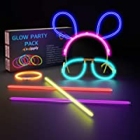 Swipply Glow In The Dark Sticks Party Supplies Set 100 Stiks 7 Colors with 124 Connectors Fun Magic Toys Cool Bracelet…