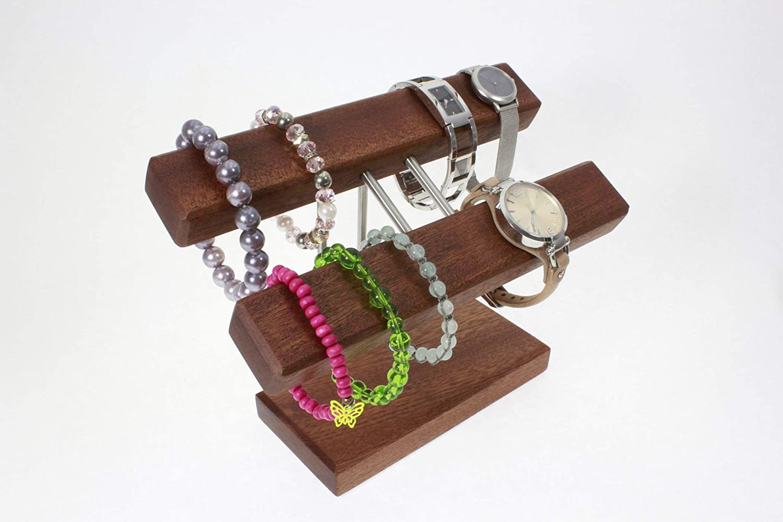 Uhrenhalter Armbandhalter Schmuckhalter Schmuckstä nder Handarbeit Mahagoni Sipo.