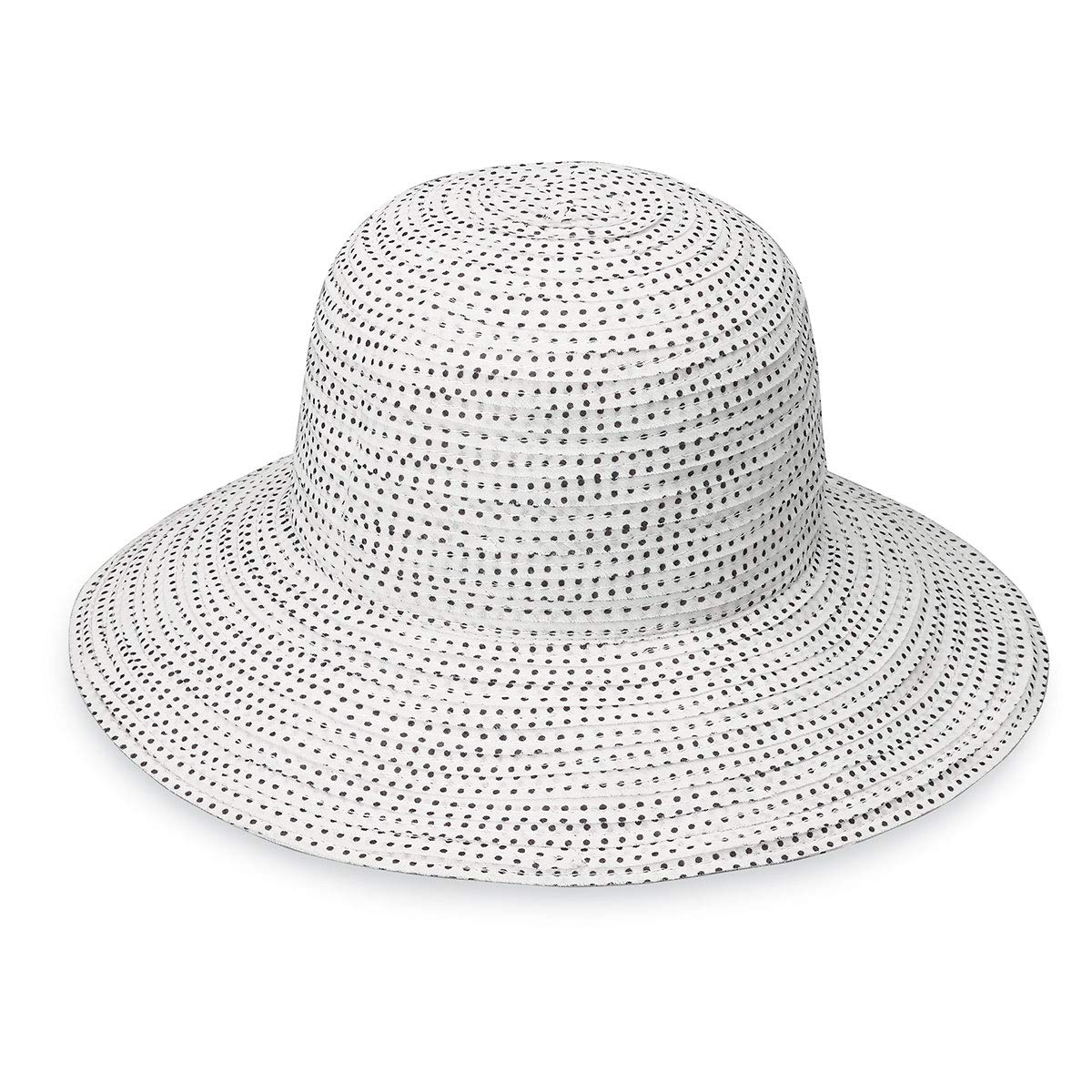 81c7a7efad3 Wallaroo Hat Company Women s Petite Scrunchie Sun Hat – White Black Dots –  UPF 50+