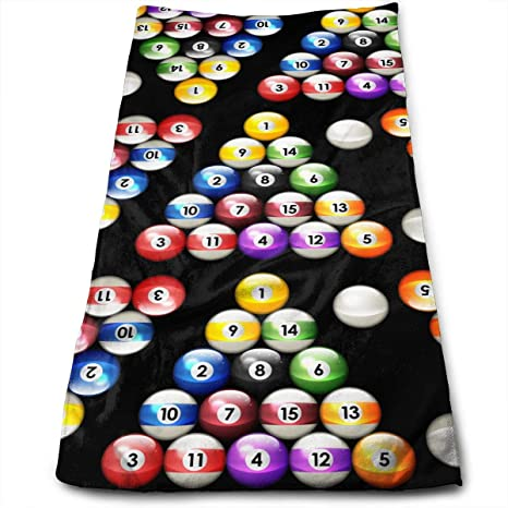 Hipiyoled Bolas de Billar Billar Colores Patrón Microfibra Toalla Multiusos Toallas de baño Toallas de Mano 12